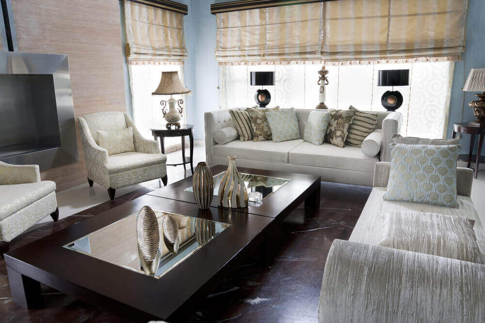 area mirror tables for living room. no-back couch, with more traditional sofa and twin easy chairs, stand around area mirror tables for living room