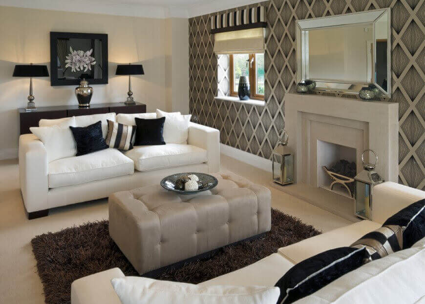 Lovely Modern Look Living Room Features White Sofas With Dark Decorative Pillows  Facing Over Rectangular Grey Ottoman