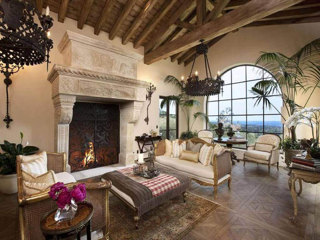 Living Room Combining Stately Traditional Look With Tropical, Open Feel.  Soaring Exposed Beams Stand