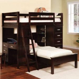 Dark wood L-shaped bunk bed