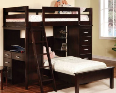Dark wood L-shaped bunk bed