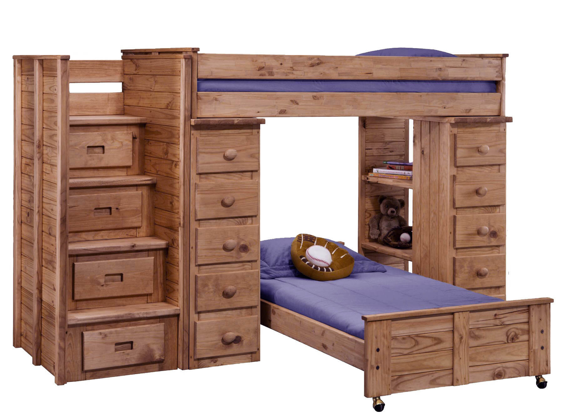 This is quite the unit, being longer than others due to accommodated a staircase (with storage drawers) and drawers on both sides of the lower bed. The lower bed is on wheels and is not attached or used as support for the upper bed, so you can move the lower bed away from the unit.