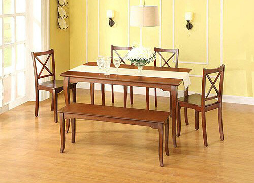 Here's a six piece dining set with wood-topped bench in a traditional style.
