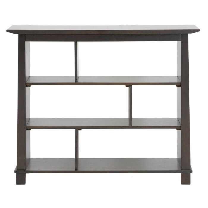 This backless 6-cube, three-shelf bookcase is made with wood and is a dark brown.