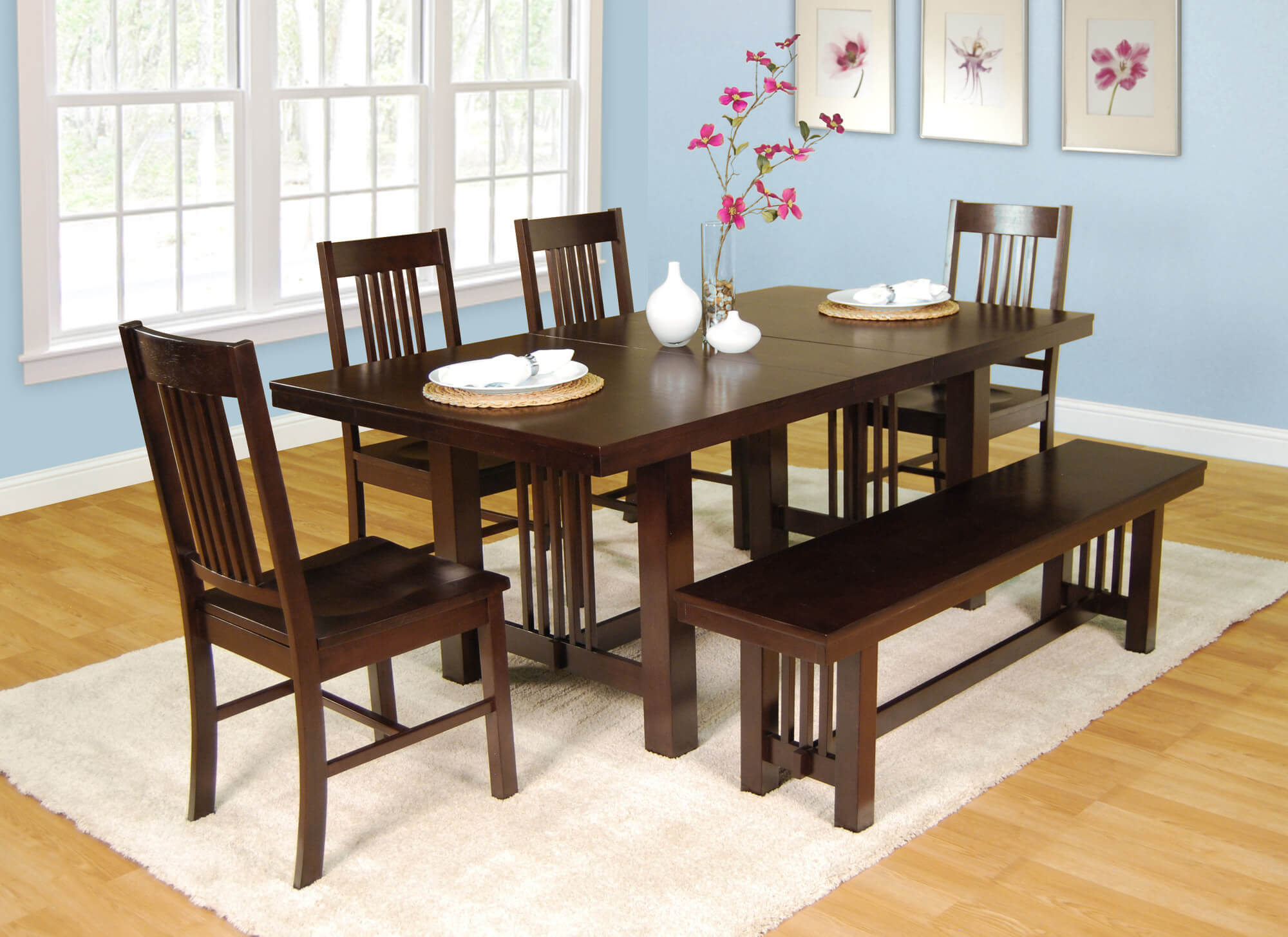 Hereu0027s A Very Solid Dining Set With Bench. Table Can Be Extended With A  Center