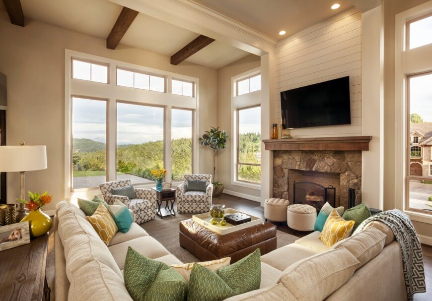 Living Room Ideas With Sectionals And Fireplace 36 elegant living rooms that are richly furnished & decorated