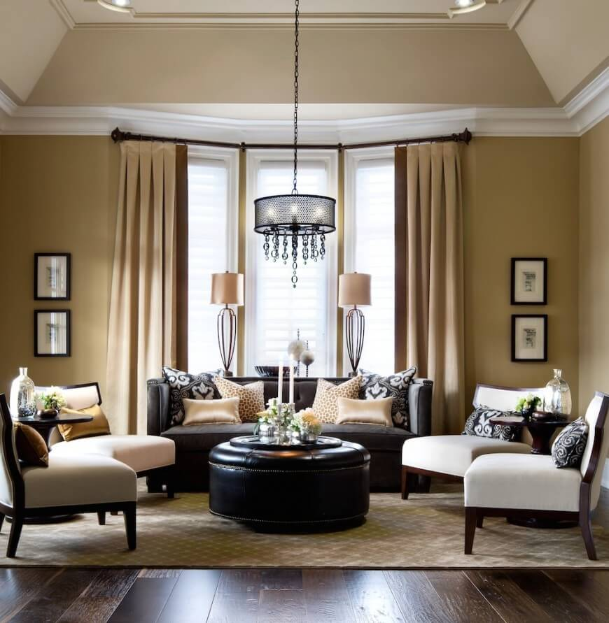 earth tones jane lockhart kylemore elegant living room - Living Room Leather Sofas