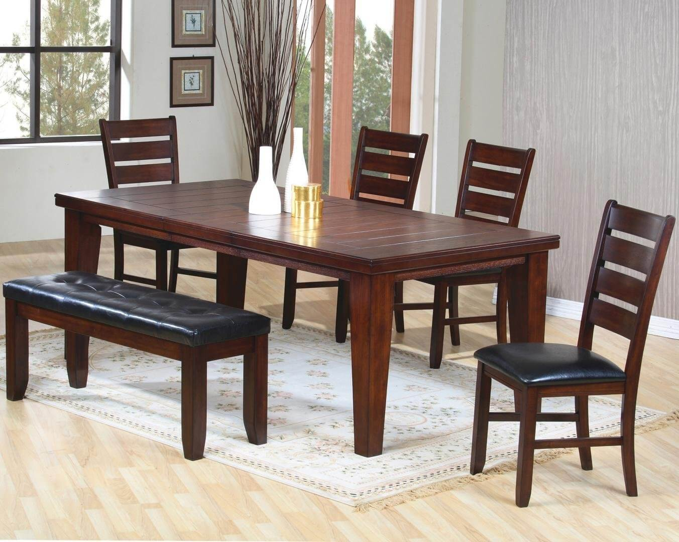 Solid wood six piece dining set with cushioned bench the finish is dark oak wood