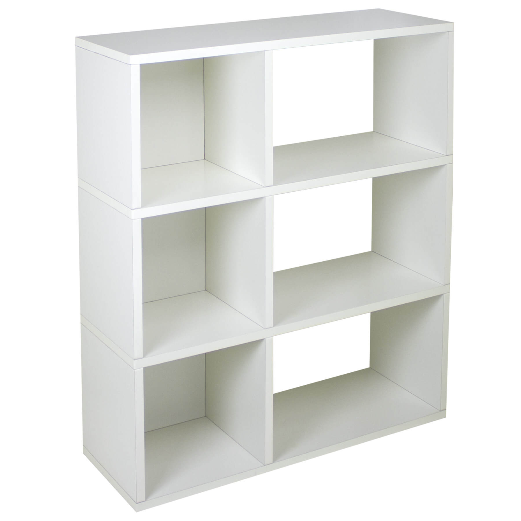 This is an eco-friendly 6-cube white bookshelf. An interesting feature with this shelf is that one side has a back and the other doesn't.