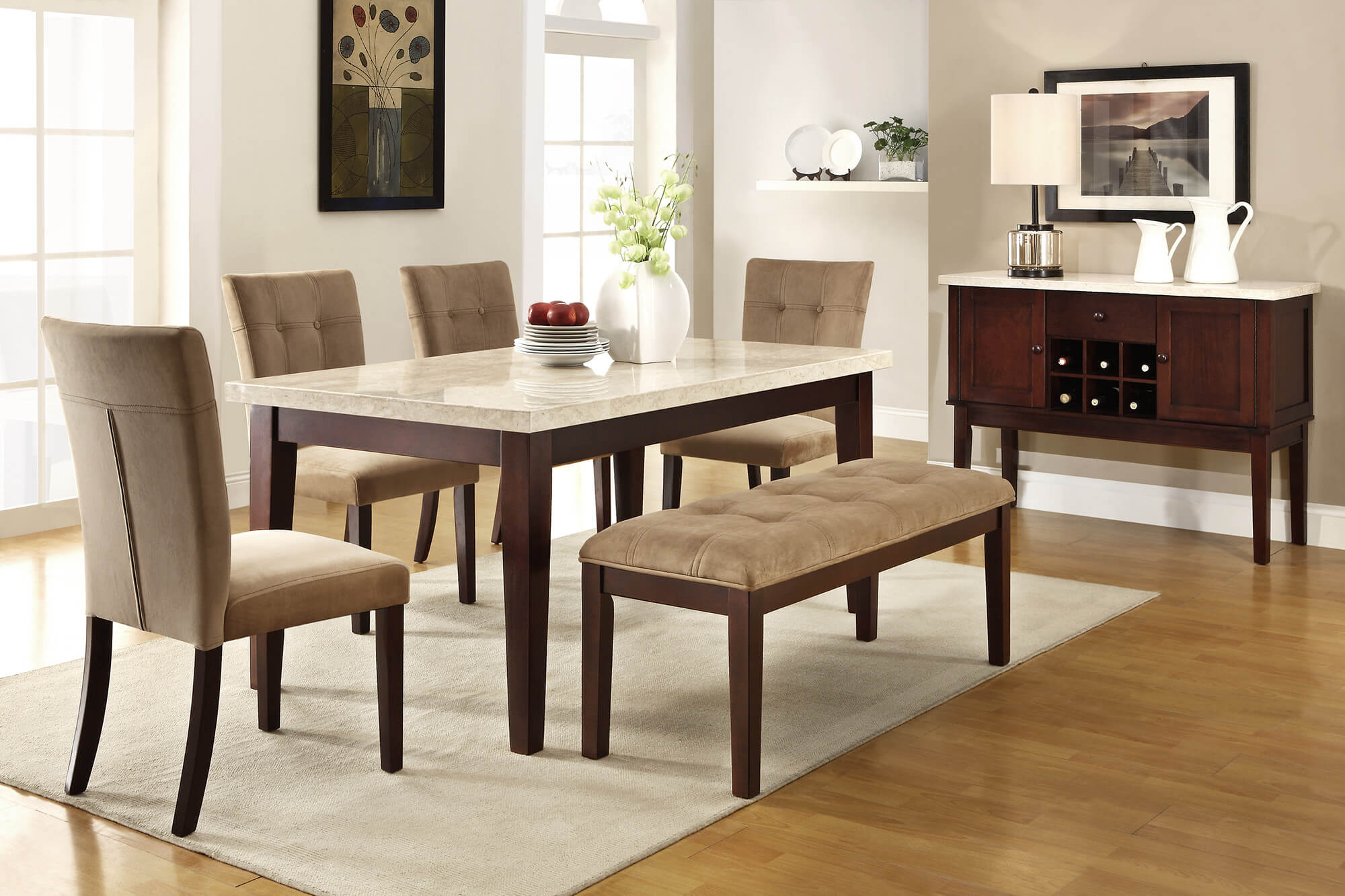 b4ee35874b1c Here's a 6 piece rubberwood dining set with faux marble table top with tan  upholstery for
