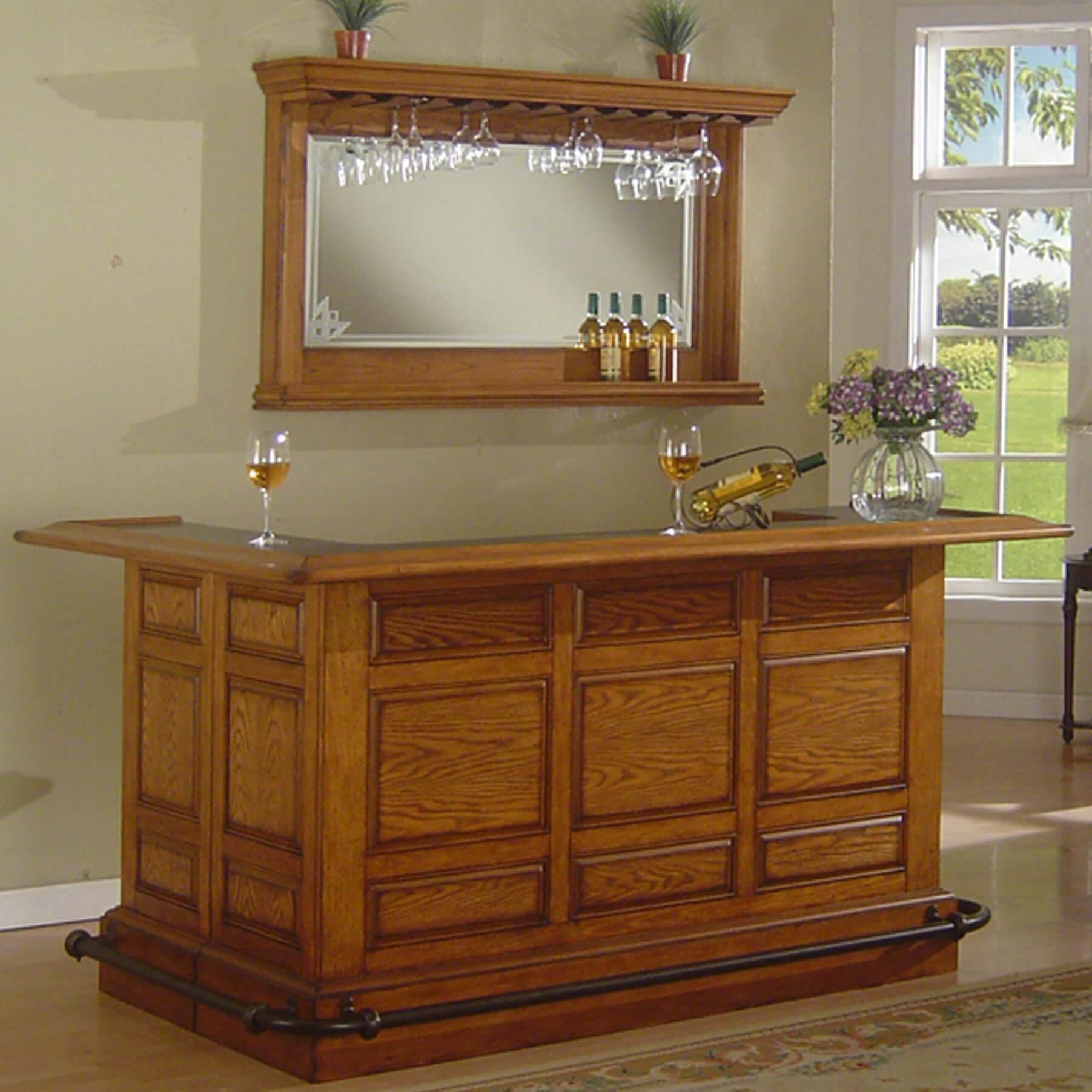 Captivating Solid Wood Home Bar With Wrap Around Counter.