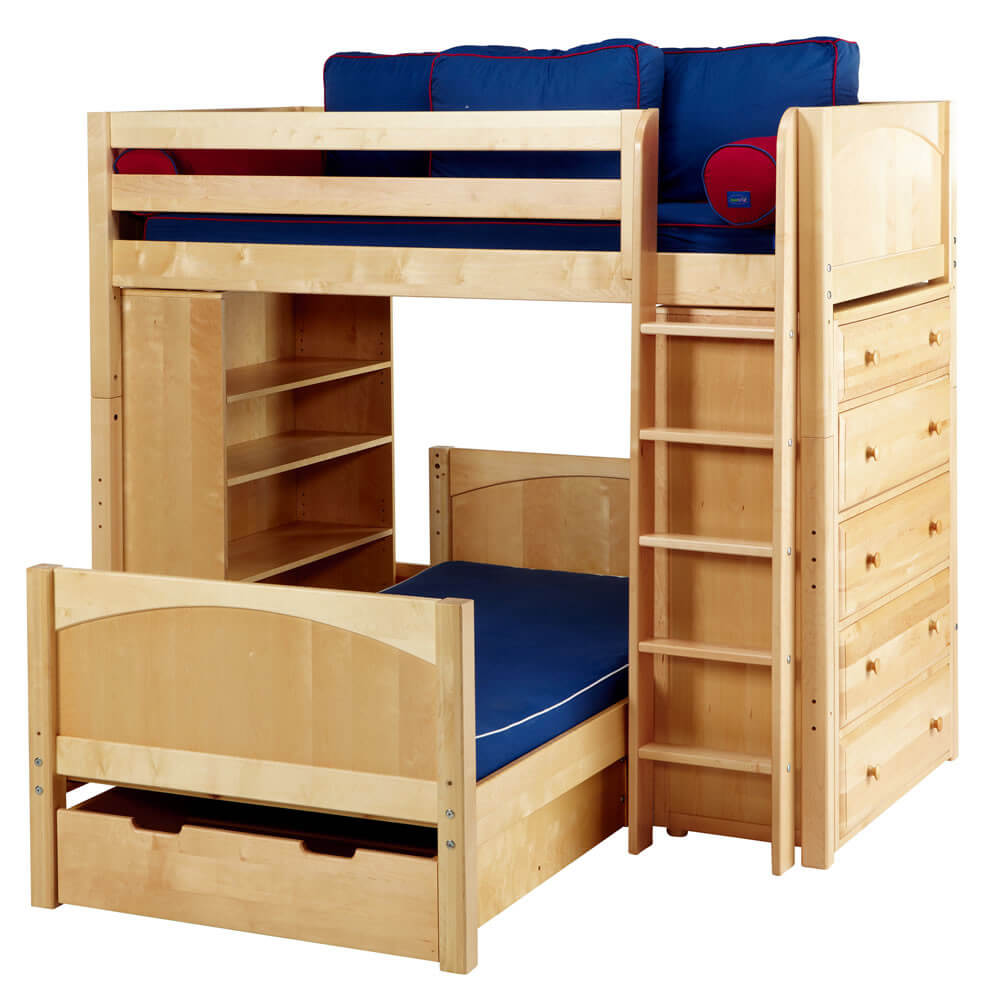 Birch wood constructed L-shaped bunk bed. The light wood tone offers a brightness to the room. The finish is non-toxic. This unit is loaded with storage including open shelving dresser drawers and even a storage drawer under the lower bed.