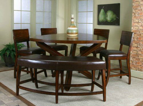 6 piece dining room set with a soft cornered triangle table. The 4 chairs wrap around 2 sides while the cushioned bench takes up the third side. This set is constructed with birch wood.