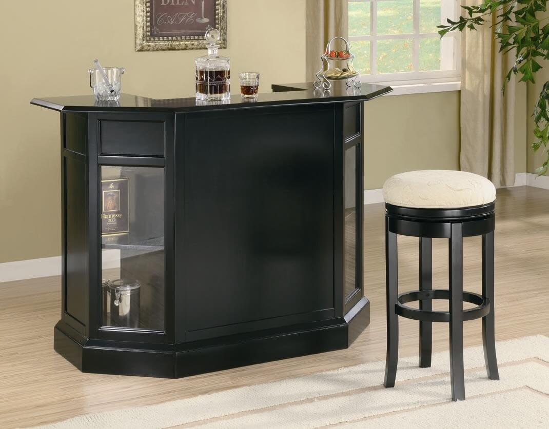 Front View Of A Black Home Mini Bar.