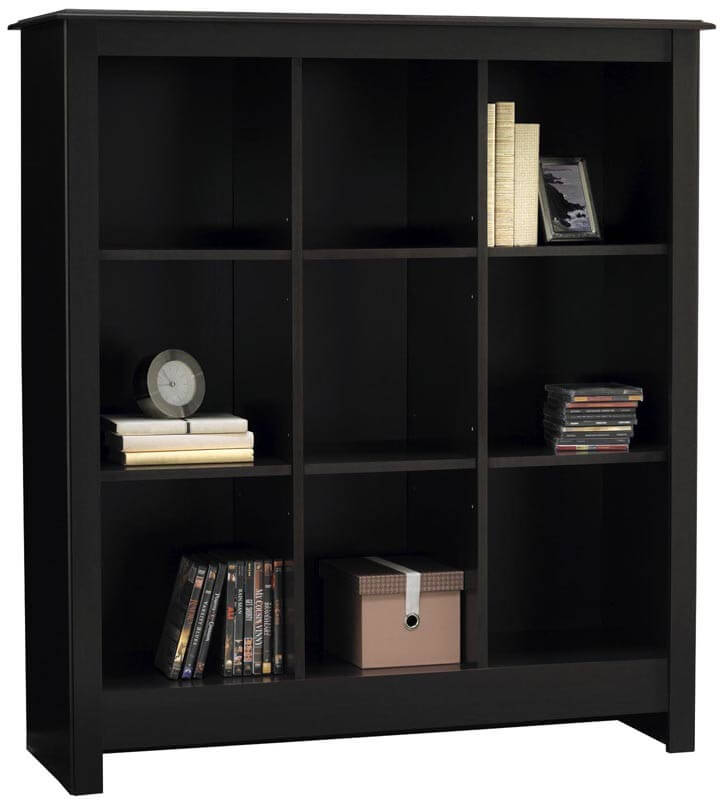 This is a decorative symmetrical 9-cube bookshelf with a stylish top. & Twenty 9-Cube Bookcases Shelves and Storage Options