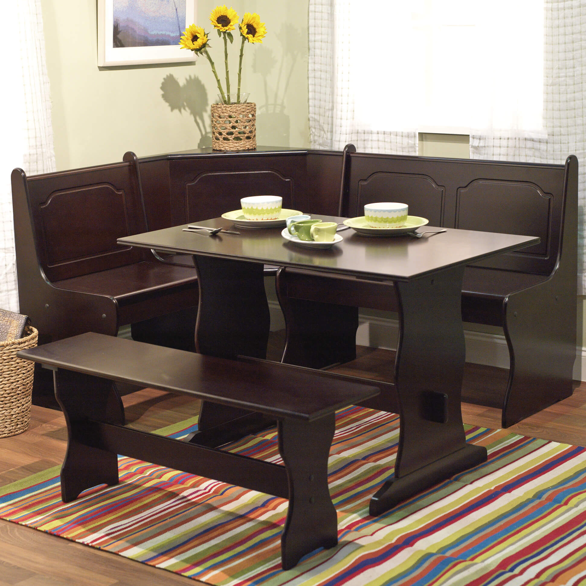 this 3 piece breakfast nook is an all wood manufactured wood dark - All Wood Dining Room Table