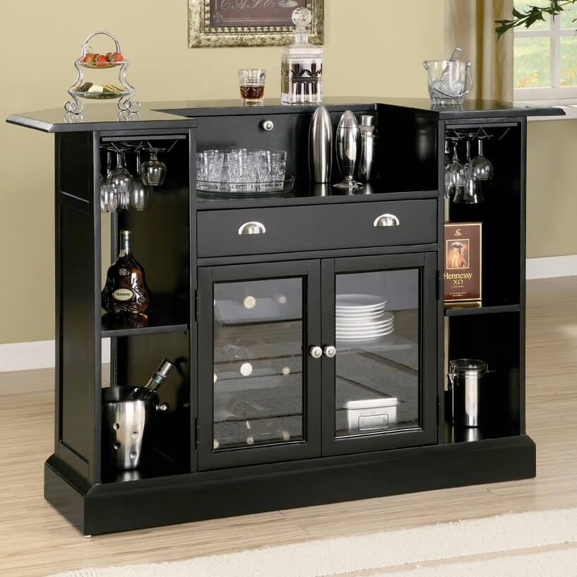 Rear View Of Home Bar With Extensive Storage And Glass Faced Cabinets.
