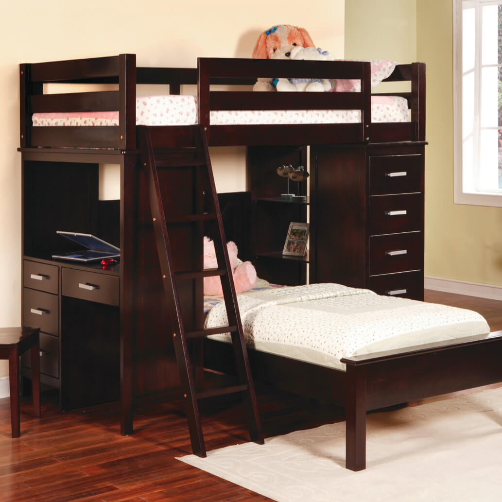 "Rave reviews by customers who purchased this bunk bed... ""easy to assemble""... ""solid hardwood"", etc. This modern design packs a lot in a small space including desk with drawers and a full height set of drawers. The wood used is rubberwood (an Asian hardwood)."