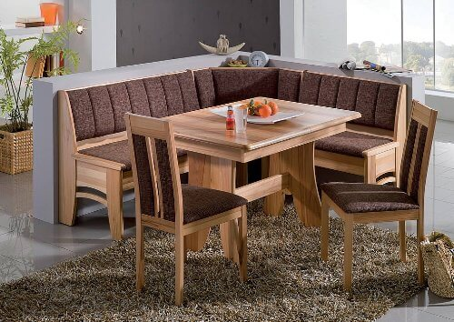 this is a solid wood and cushioned dining nook furniture set with a spacious l