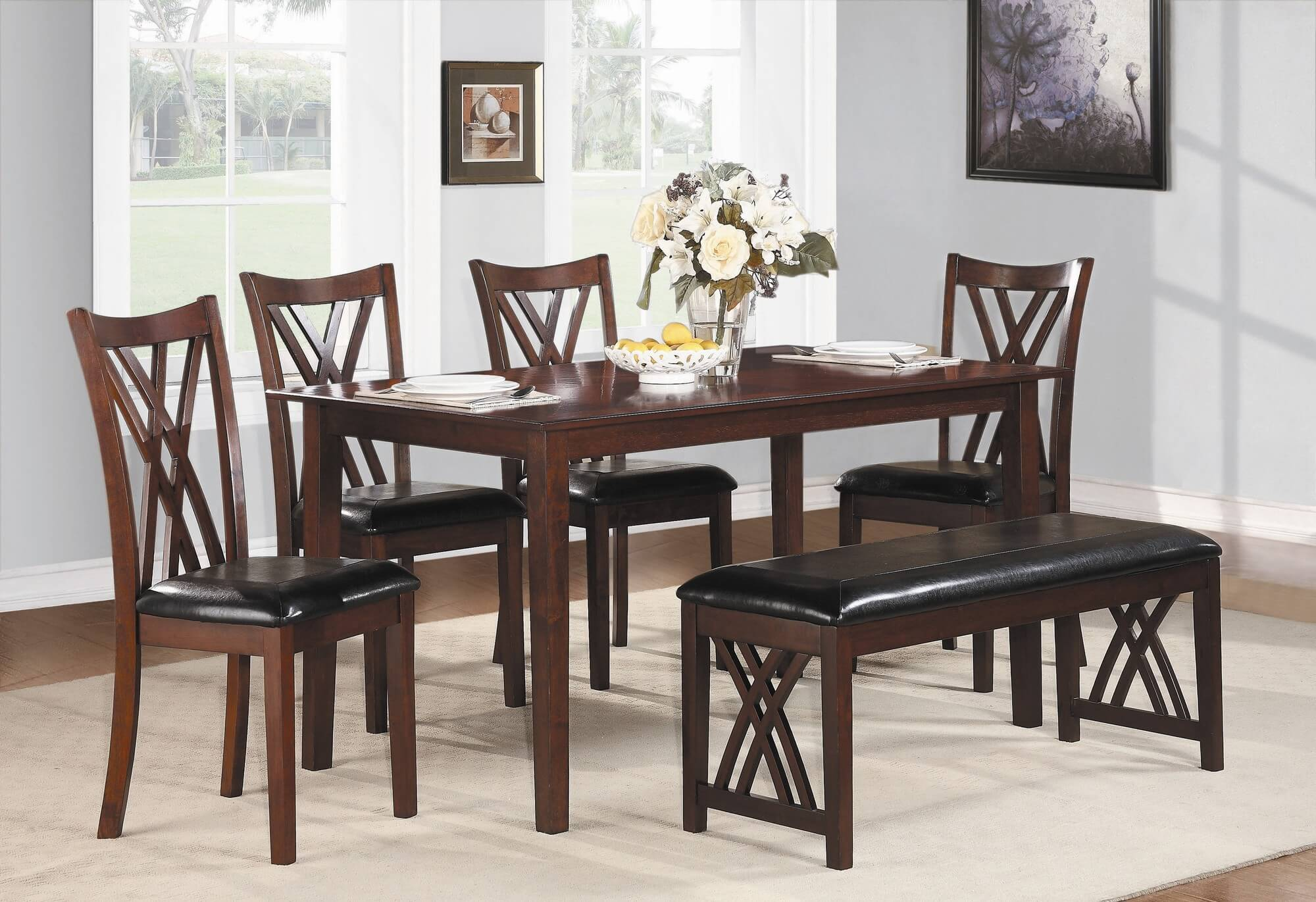six piece dining set with bench with a cherry finish and upholstered