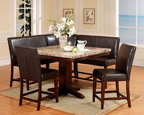 This 6 Piece Espresso Dining Nook Set Includes An Artificial Marble Square  Table Top With Cherry