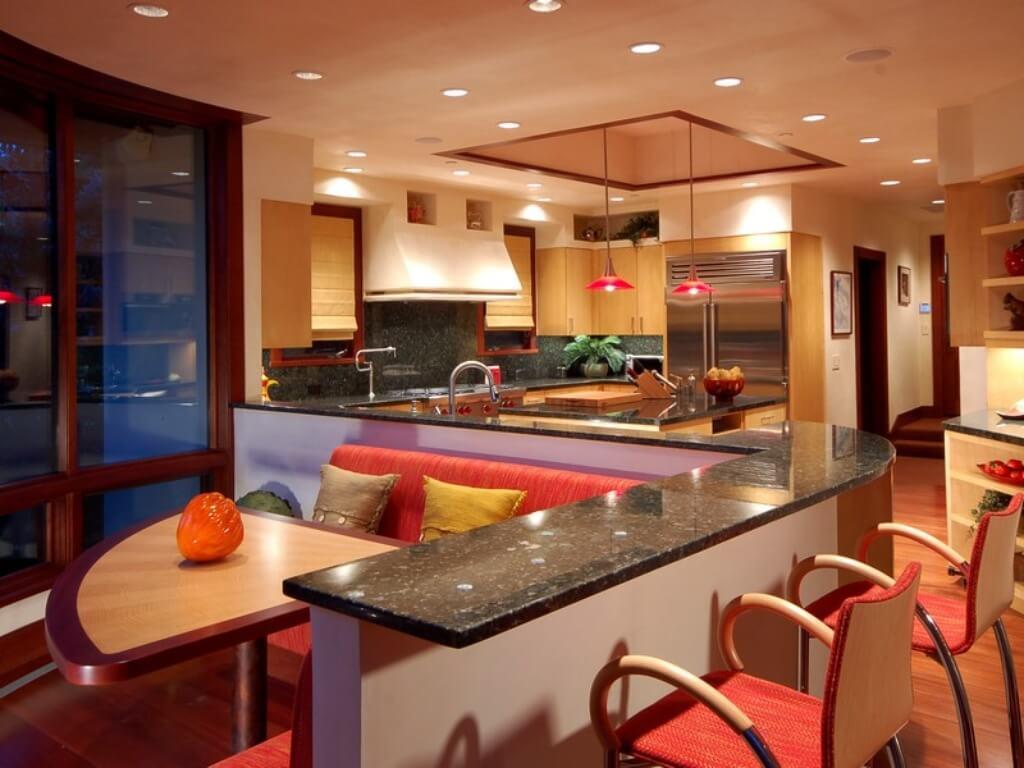 35 custom kitchen designs from top kitchen designers worldwide for Kitchen island booth