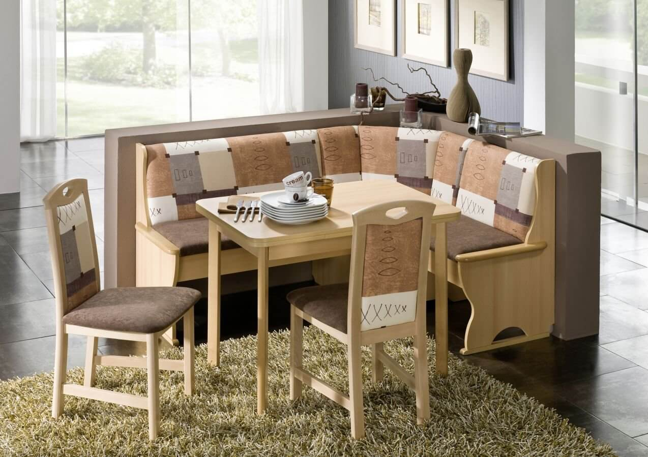 Earth Tone L-Shaped Breakfast Nook Table and Bench