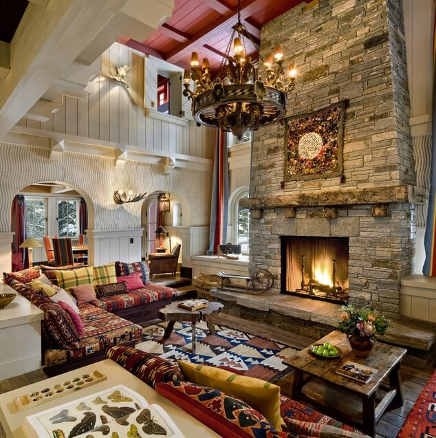 Like The Brick Beams Dark Floors Decor Chandelier Is: 54 Living Rooms With Soaring 2-Story & Cathedral Ceilings