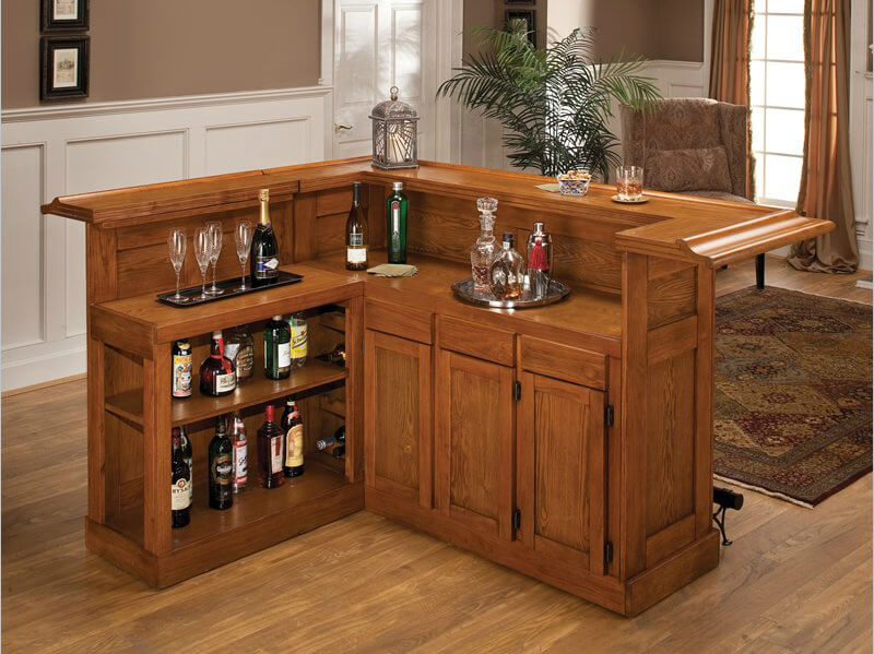 Gorgeous Wood L Shape Home Mini Bar