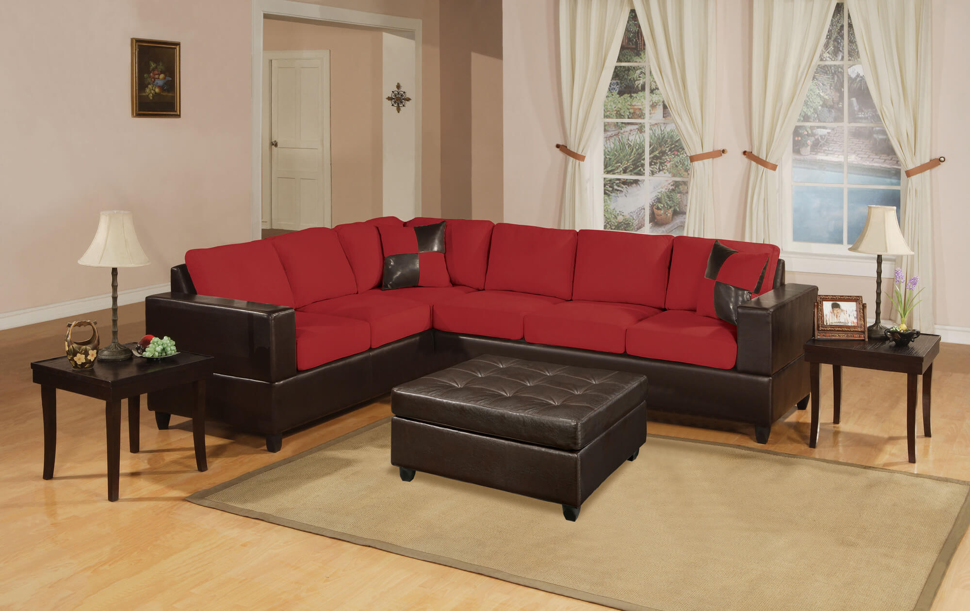 This chocolate brown and red sectional costs less than $1,000. It's a contemporary design with a chocolate brown frame with deep red cushions (seat and back).