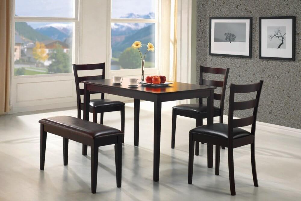 perfect for an apartment or small dining room this five piece bench dining set is
