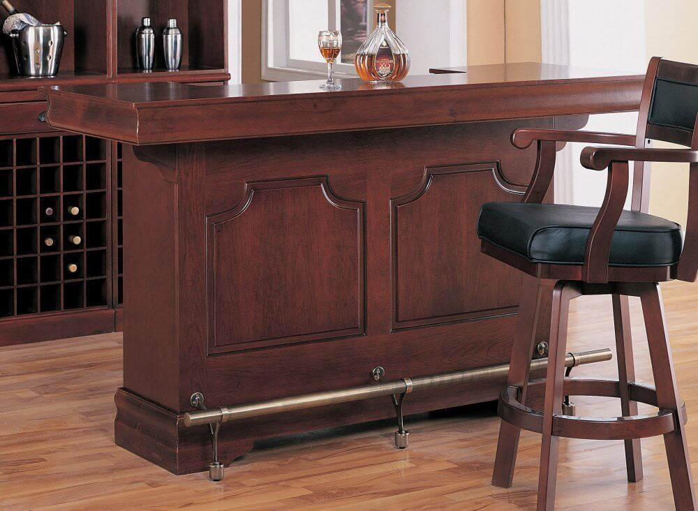 This Cherry Wood Home Bar Is Nicely Detailed. Check Out The Lower Foot Bar,