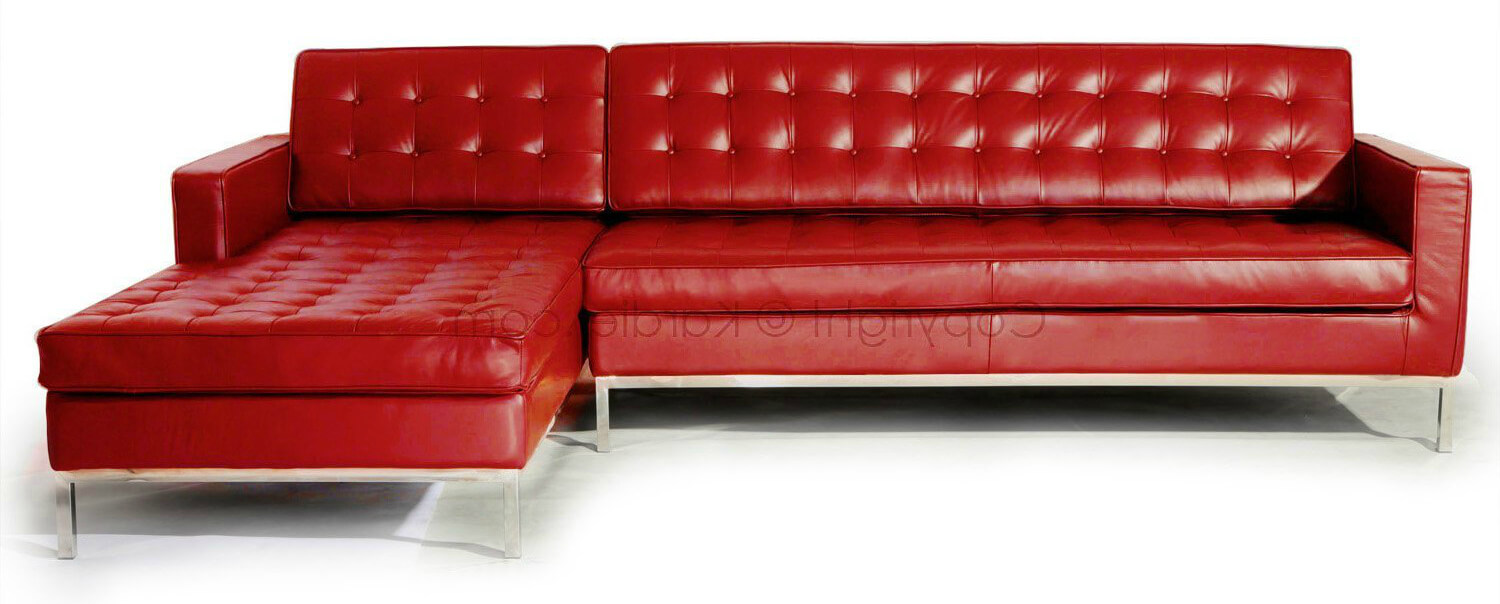 This Is A Truly Beautiful Modern Red Leather (tufted) Sectional With  Stainless Steel Legs .