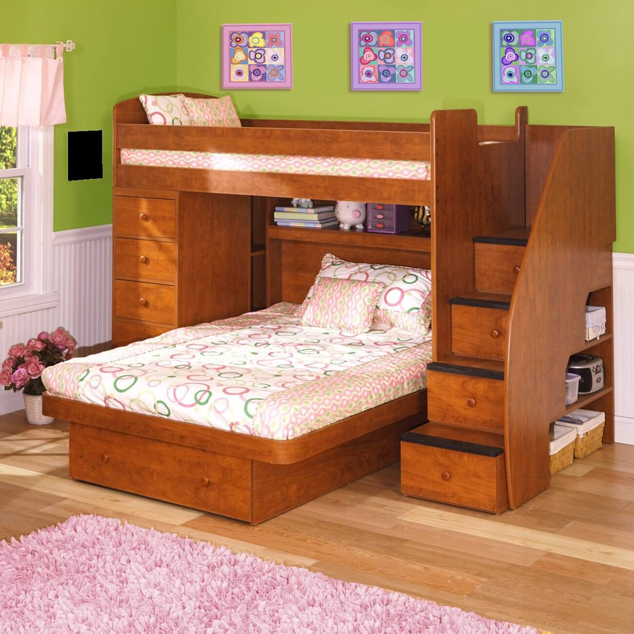 this engineered wood lshaped bunk is a twin over full size bed the