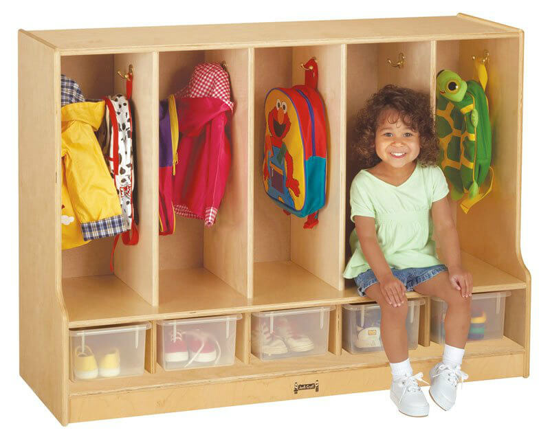 This is a super fun locker unit for kids. It's shorter so young kids can reach their own coats and bags on the hooks.