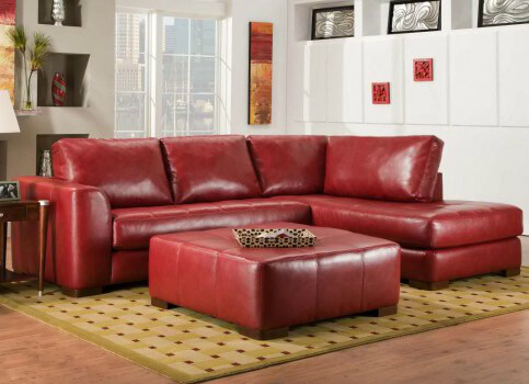 Gentil Salem Solid Deep Red Leather Sectional Sofa