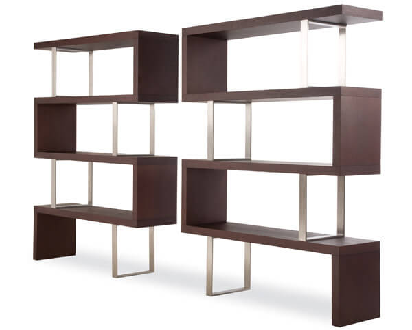 This is a popular modern 6-cube shelving design that is comprised of 2 sections creating a symmetric unit.