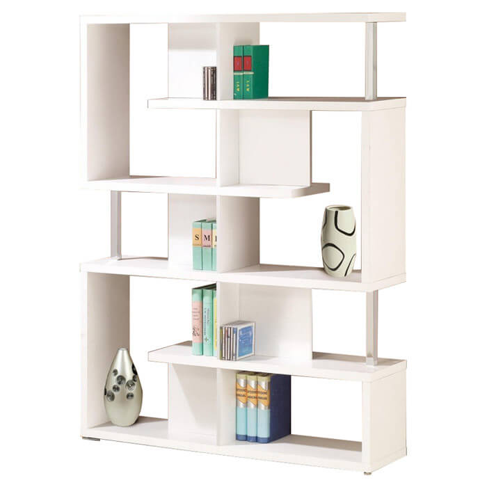 This is a white modern cube shelf that not only divides section horizontally, but depth-wise as well.