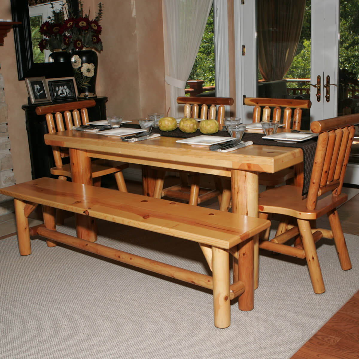 Hereu0027s A Dining Table Set With Bench Perfect For The Log Cabin Or Home.  Seating