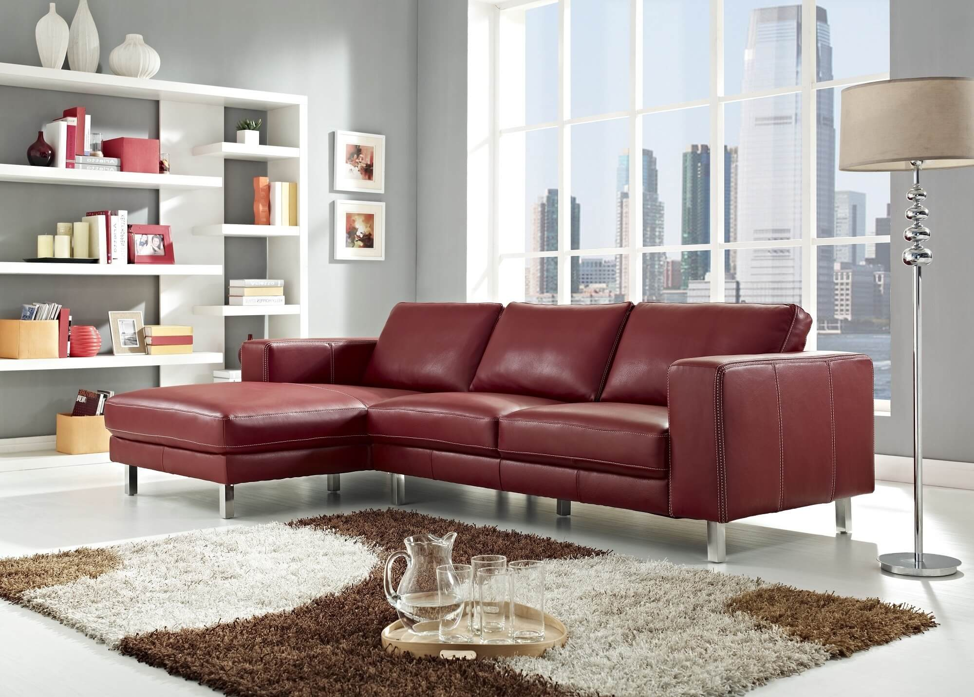 Elegant leather modern red sectional sofa