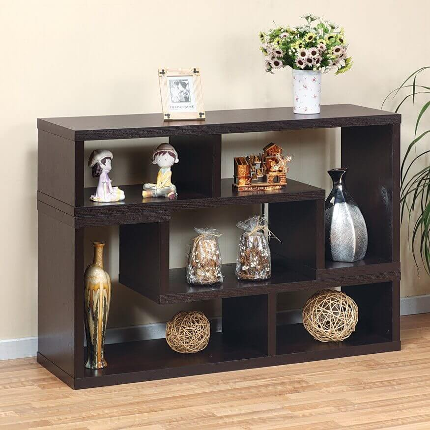 Here's an elegant 6-cube chocolate colored shelving unit ideal for your living room or bedroom (or just buy 2, one for each room). The shelving sections vary in sizes due to its puzzle piece configuration.