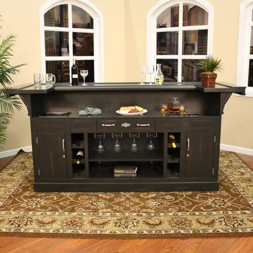 This Dark Brown Home Bar Cabinet Is Larger Than Most Assembly Style Units.  Built With