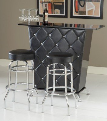 This is not your typical home bar design. It's a mid-century modern style with vinyl upholstery and chrome feet.
