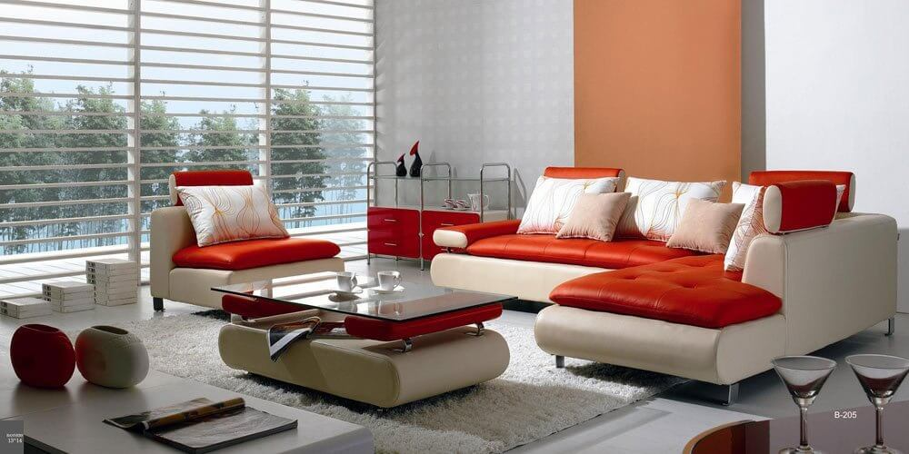 This red and white modern sectional sofa set offers a striking furniture option that will be the focal point of your room.  This design is best-suited for a modern interior design.