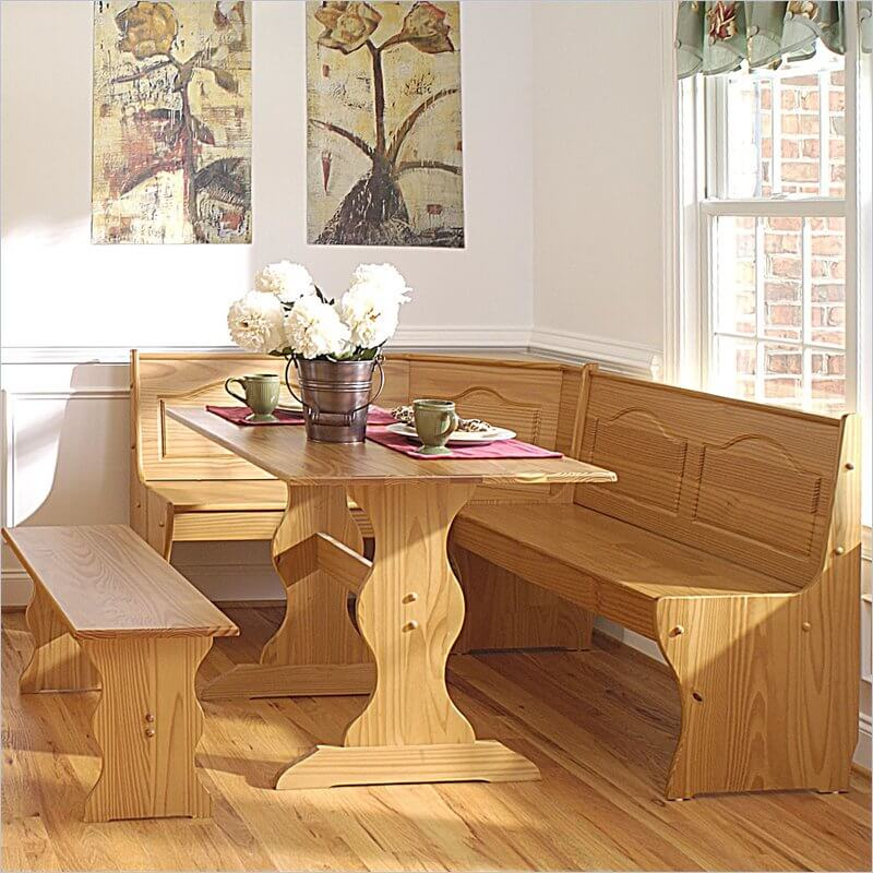 This is a great looking honey-finished all-wood breakfast nook that won'
