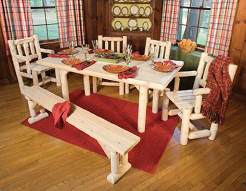 Heres Another Log Cabin Style Dining Set With Bench It Provides A Real Natural Look