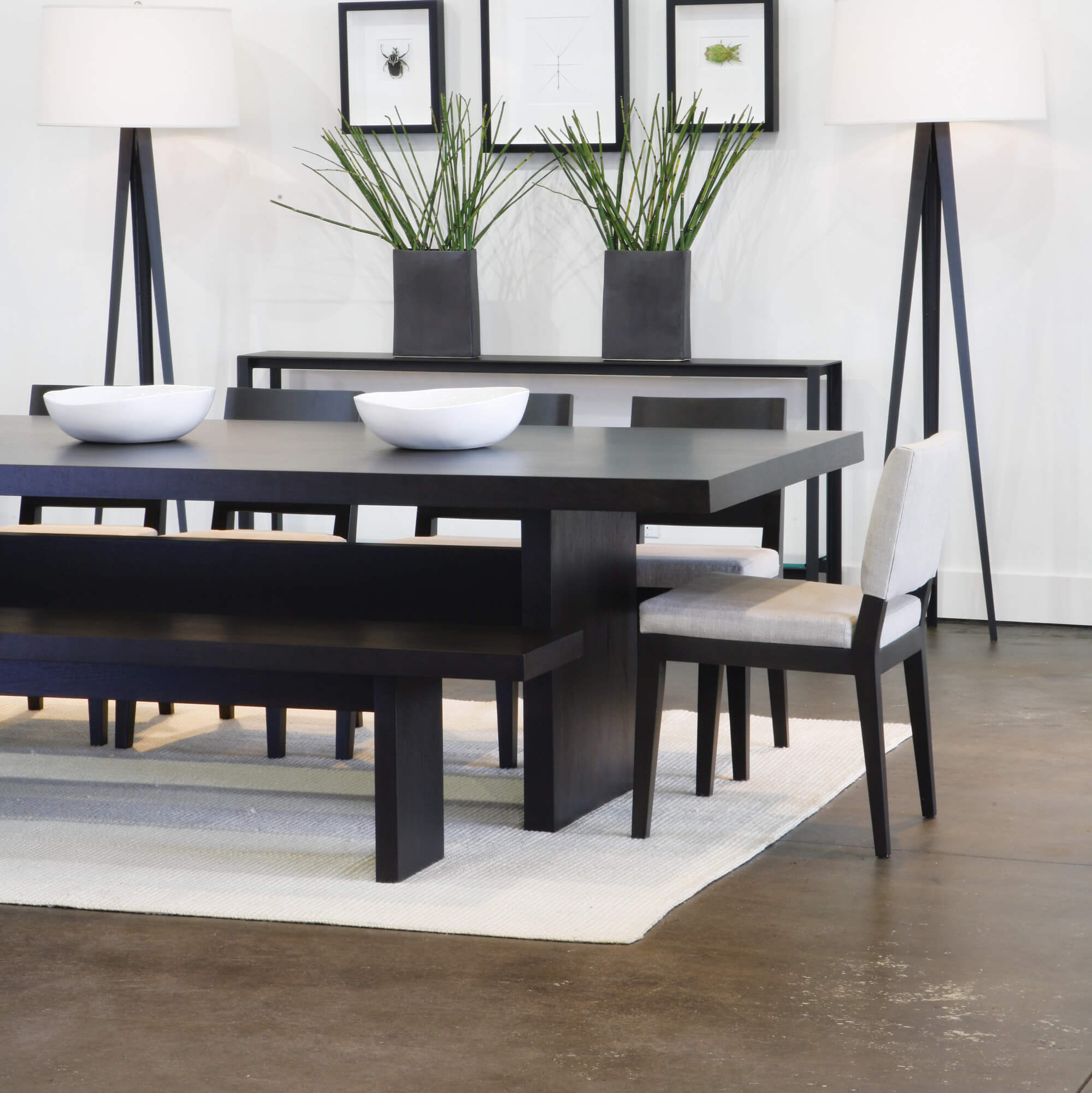 Black wood dining table set - 5 Piece Modern Dining Room Set With Bench This Is A Great Dining Room Furniture