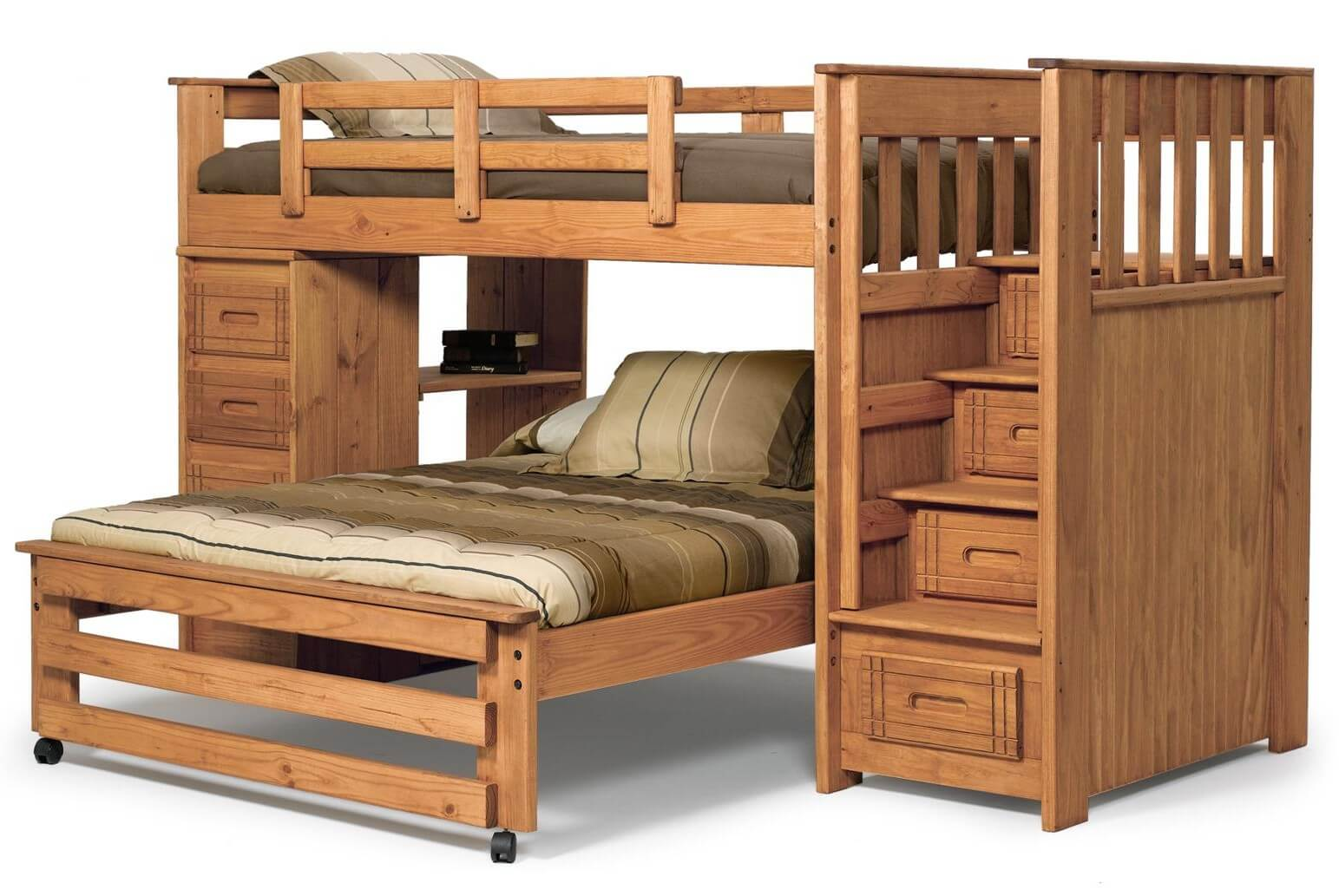 21 top wooden l shaped bunk beds with space saving features for Wooden bunkbeds