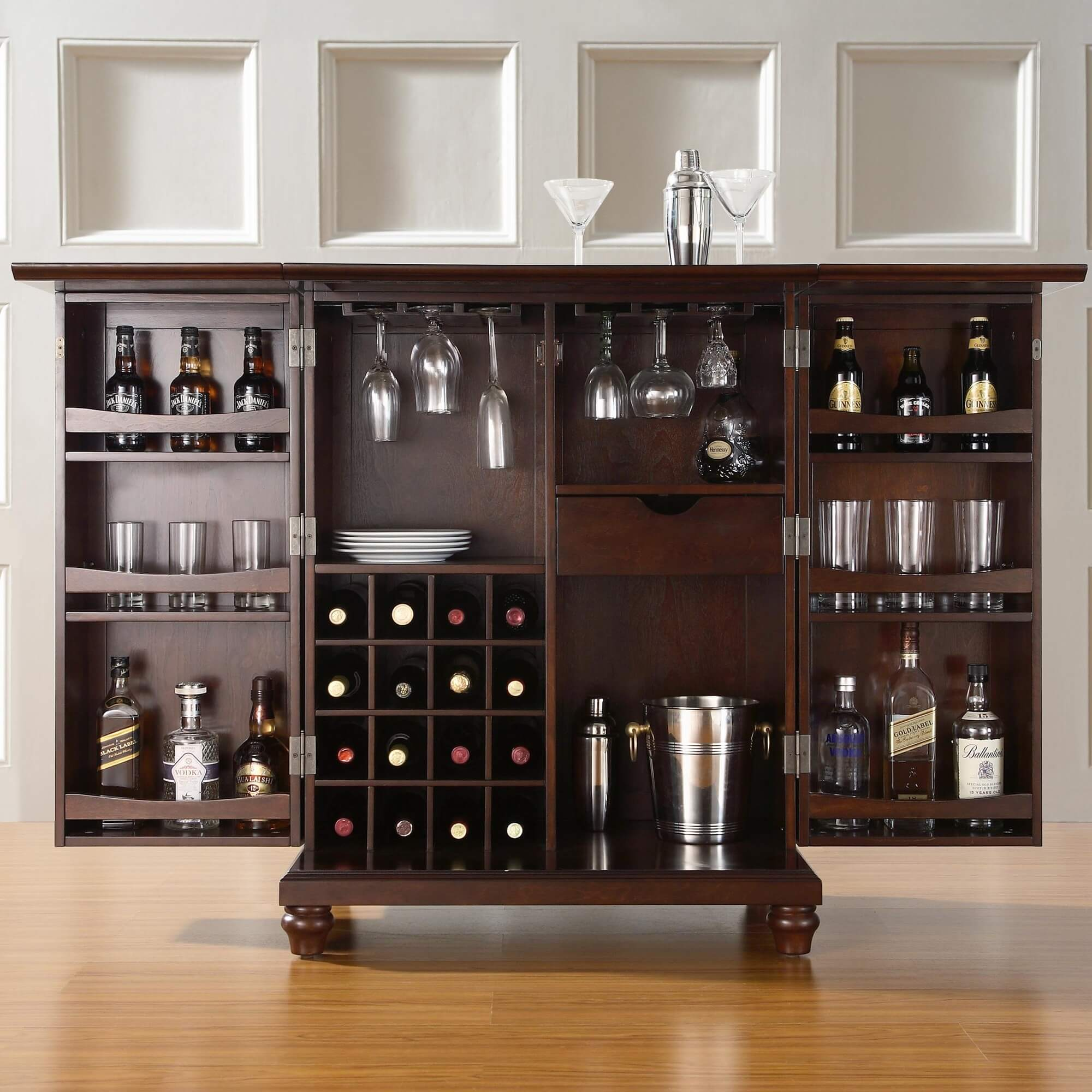 Rear Storage View Of Elegant Compact Home Bar Cabinet Set