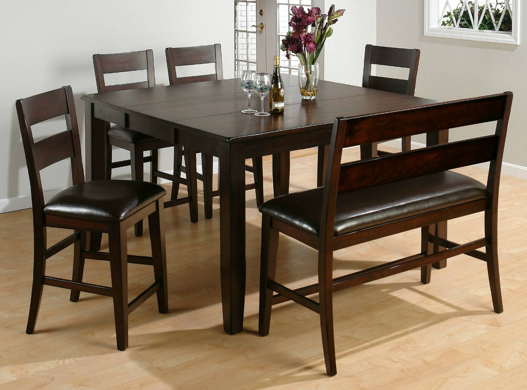 heres a counter height square dining room table with bench moreover the bench includes - Dining Room Table With Chairs And Bench